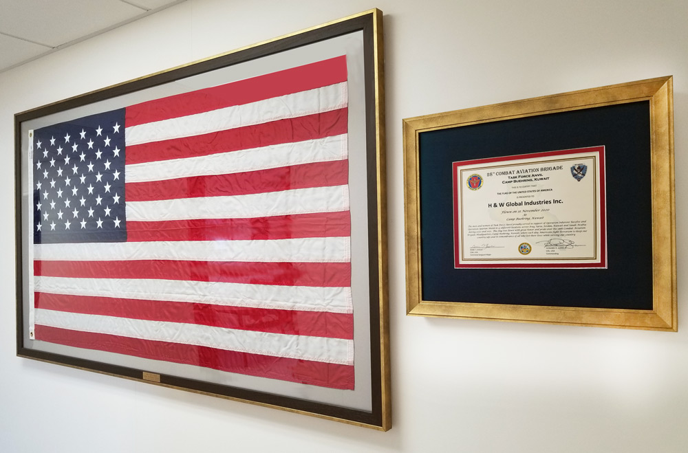 US Flag and Appreciation Plaque sent to HW Global from the Men and Women of Task Force Anvil, Camp Buehring, Kuwait