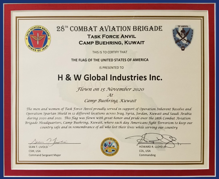 Appreciation Plaque sent to HW Global from the Men and Women of Task Force Anvil, Camp Buehring, Kuwait